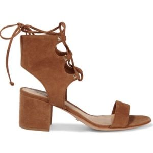 Schutz camel lace up sandals from blogger